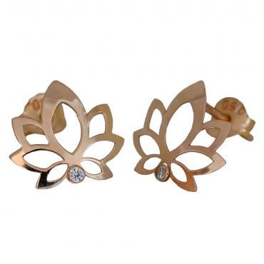 I-be, Lotus Blume mit Zirkonia Ohrstecker, 14 Karat 585 Gold, 9x11 mm, im Geschenketui, 35585262501PS
