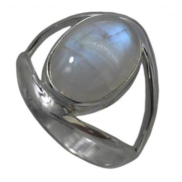 I-be, Regenbogen Mondstein Edelstein Ring 925 Sterling Silber 107912/10x14