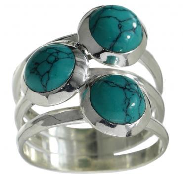 I-be, Türkis Edelstein Ring 925 Sterling Silber 107411-3