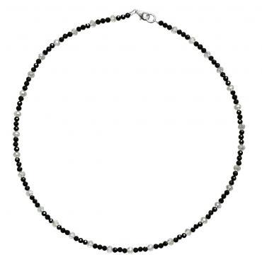 I-be, Schwarzers Spinell Collier/ Kette tiefschwarz Ø 2 mm, 925 Sterling Silber Karabinerverschluss, Länge 45 cm im Geschenketui 446602/black/45