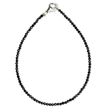 I-be, Schwarzes Spinell Armband tiefschwarz Ø 3 mm, 925 Sterling Silber Karabinerverschluss, Länge 18,5 cm 506603/black/18,5