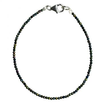 I-be, Schwarzes Rainbow Spinell Armband schwarz bunter Schimmer Ø 2 mm, 925 Sterling Silber Karabinerverschluss, Länge 18,5 cm 506602/gr/18,5