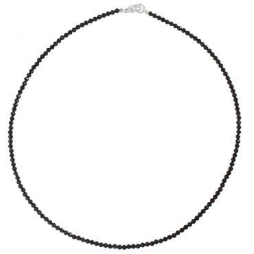 I-be, Schwarzes Spinell Collier/ Kette tiefschwarz Ø 3 mm, 925 Sterling Silber Karabinerverschluss, Länge 45 cm im Geschenketui 446603/black/si/45