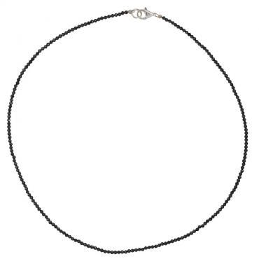 I-be, Schwarzes Spinell Collier/ Kette tiefschwarz Ø 2 mm, 925 Sterling Silber Karabinerverschluss, Länge 42 cm im Geschenketui 446602/black/42