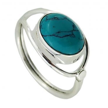 I-be, Türkis Edelstein Ring 925 Sterling Silber 107412/8x10-S