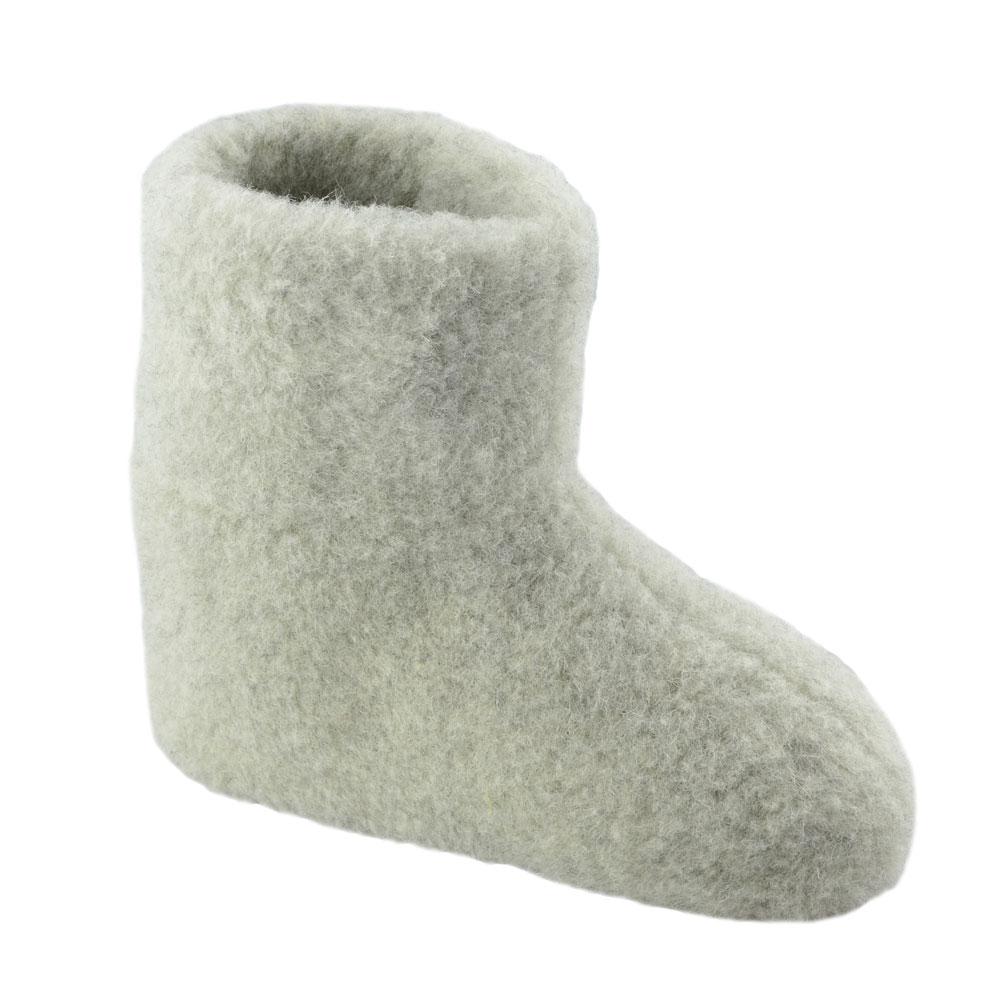 eeabf496ed02e3 SamWo, 100% reine Schafwolle Hausschuhe Wollhausschuhe Fußwärmer  Hüttenschuhe Stiefel hellgrau Premium